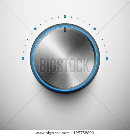 volume knob with metal texture and blue light eps10
