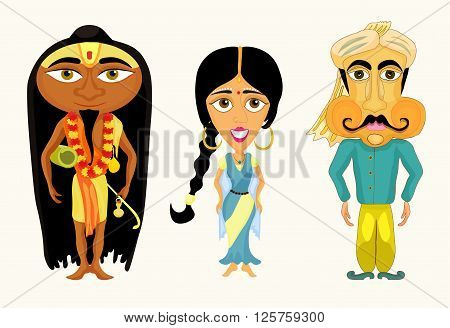India set a girl a man and a yogi. vector illustration