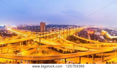 interchange overpass bridge panorama in nanjing at night