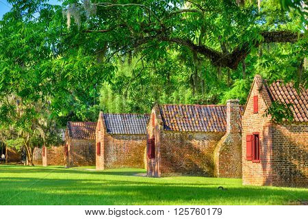 Preserved plantation slave homes in Charleston, South Carolina, USA.