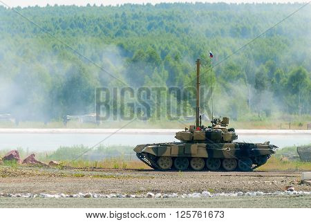 Nizhniy Tagil, Russia - July 12. 2008: T80 tank with equipment for speeding up of water crossing. Russia Arms Expo exhibition