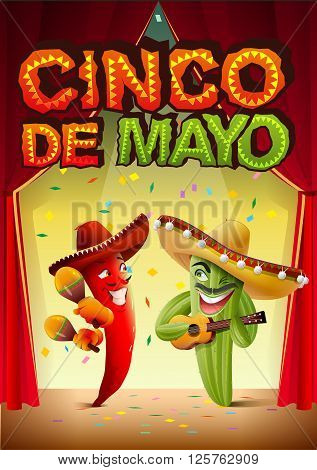 Cinco de Mayo. Mexican cactus in sombrero playing guitar. Greeting card template. Illustration in vector format