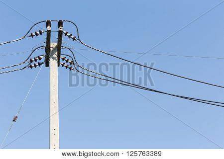 electricity post on blue sky background, electricity industry