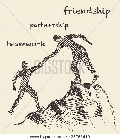 Hand drawn vector illustration of a man, helping another man climb, sketch. Teamwork, partnership concept. Vector illustration, sketch