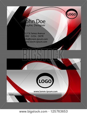 red business card template. Business Card Set. Vector illustration. EPS10