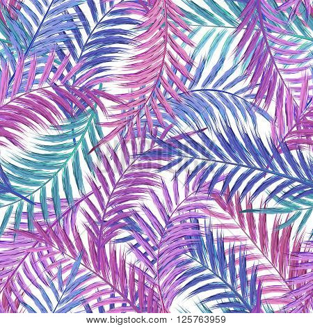 Leaves of palm tree. Seamless pattern. Palm leaf in violet on white background. Tropical trees leaves