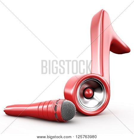 Audio speaker system in note sign and microphone 3D rendering image