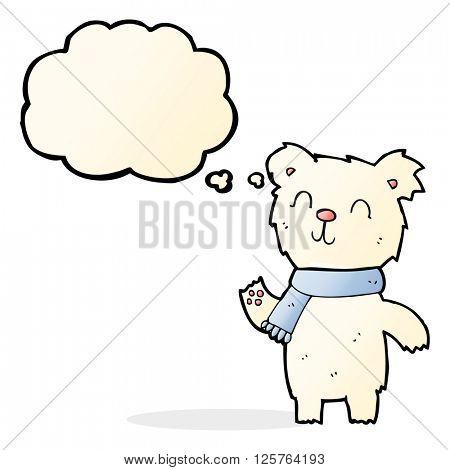cartoon cute polar bear cub with thought bubble