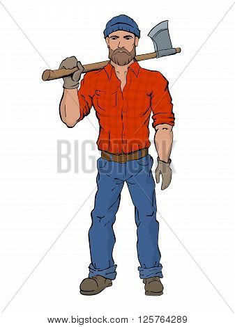 Lumberjack. Rural man holds axe in hands wearing a plaid shirt jeans and boots. Brutal fashion style.