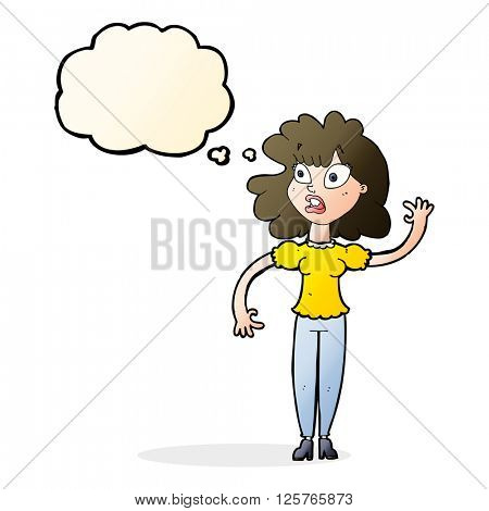 cartoon worried woman waving with thought bubble