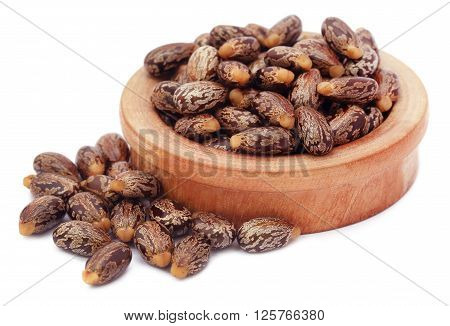 Castor beans in a wooden bowl over white background
