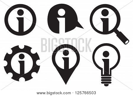 Set of six icon designs for information sign with letter i inside circle isolated on white background