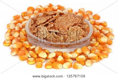 Close up of corn flakes over white background