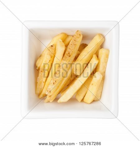Pieces of french fries in a square bowl isolated on white background