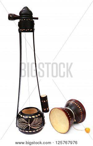 Bangladeshi musical instrument Ektara and Dugdugi over white background