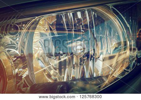 Led Headlight Of Car