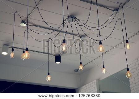 light bulb incandescent hanging decorated interior room