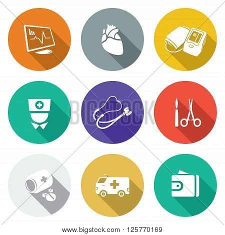 Heart disease, hospital Icons Set. Vector Illustration. Isolated Flat Icons collection on a color background for design