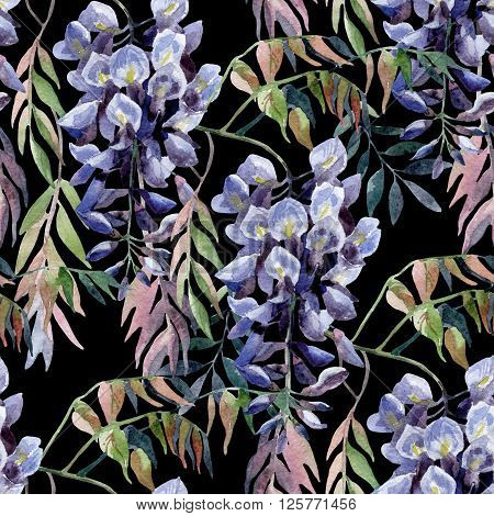 Wisteria flower. Watercolor wisteria seamless pattern. Hand painted illustration on black background in retro style
