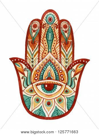 Hamsa Hand in watercolor. Protective and Good luck amulet in Indian Arabic Jewish cultures. Hamesh hand for tattoo boho yoga design textiles elements etc. Hand draw illustration