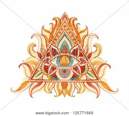 Watercolor all seeing eye symbol in pyramid. Vintage hand painted All Seeing-Eye isolated on white background