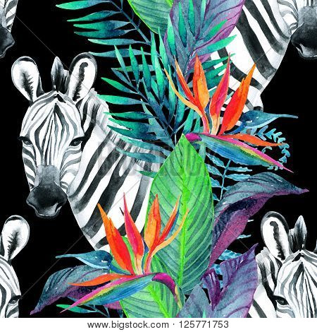 Zebra and exotic flowers. Watercolor jungle seamless pattern. Hand painted illustration with zebra on white background for your design.