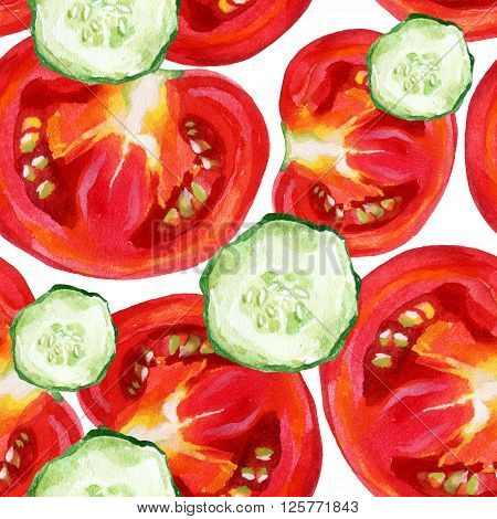 Watercolor tomatoes and cucumber seamless pattern. Vegetable background. Vegetarian food background.