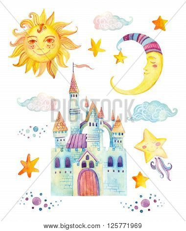 Watercolor fairy tale collection with cute dragon magic castle little princess crown mountains and fairy clouds isolated on white background. Hand painted elements for kids children design