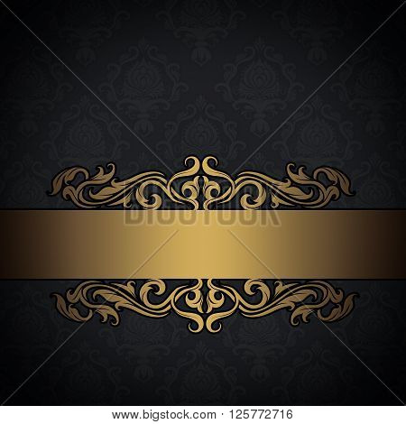 Vintage background with old-fashioned floral patterns and gold decorative border.