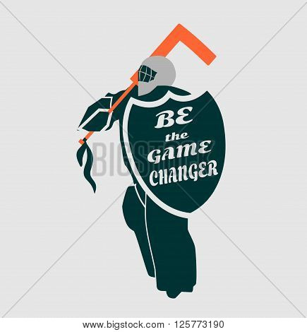 Vector illustration of ice hockey goalie with knight shield. Be the game changer motto. Sport metaphor. Sport relative quote