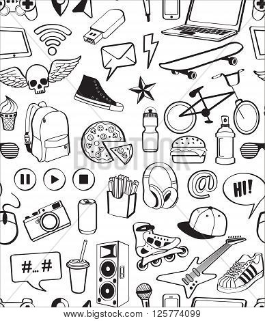 Seamless pattern. Hand drawn vector symbols and objects for teens. Doodle elements isolated on white background.  Various sports, music, food, gadgets, internet, shoes, sneakers