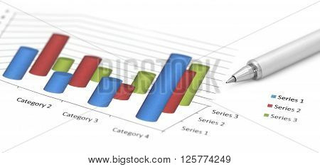 Profit graph with a silver ballpoint over white background
