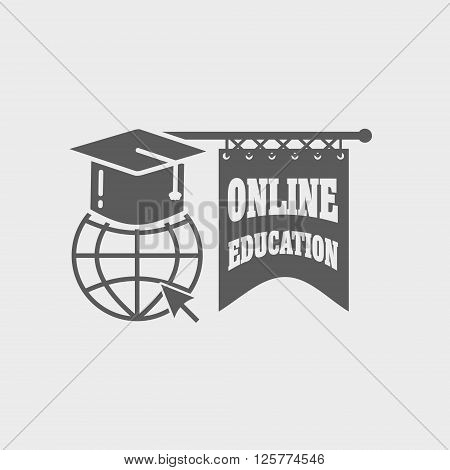 Online Education Logo , Label Or Badge Concept On White Background With Earth Globe And Mortar Board