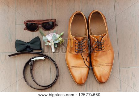 Groom Set Clothes. Wedding Rings, Shoes, Bow Tie