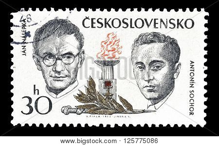 CZECHOSLOVAKIA - CIRCA 1973 : Cancelled postage stamp printed by Czechoslovakia, that shows Nalepka and Sochor.