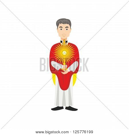 Catholic priest holding monstrance,dressed in a cassock