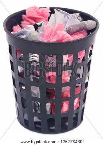 Close up of Wastepaper basket over white background
