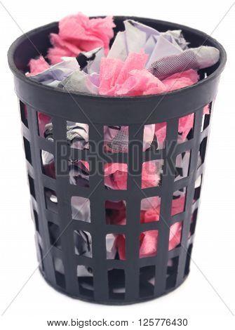 Close up of Wastepaper basket over white background