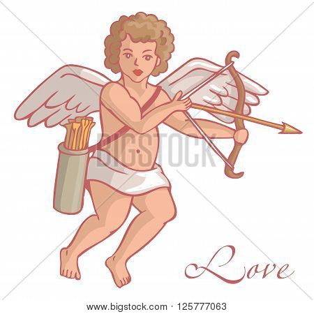 Illustration on white background Cupid with arrows and quiver flies