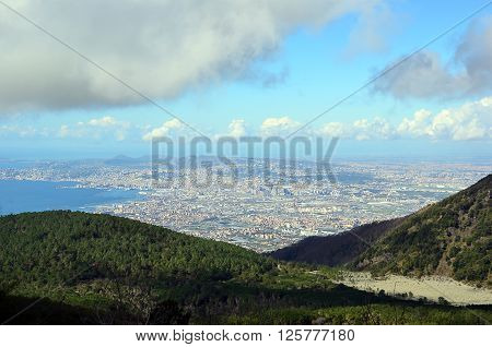 view from vesuvius volcano to the naples city in italy