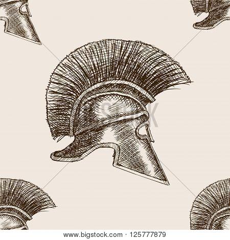 Spartan helmet sketch style seamless pattern vector illustration. Old hand drawn engraving imitation.