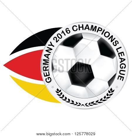 Champions league Germany label with soccer ball and German flag. Print colors used