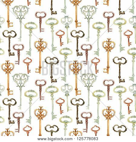 Retro keys seamless pattern. Antiques key cover for your design. Hand painted illustration on white background