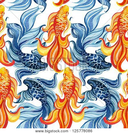 Watercolor asian goldfishes seamless pattern. Yin and yang concept. Hand painted illustration