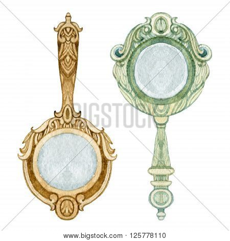 Mirrors set. Vintage hand mirror isolated on white background. Old fashioned mirrors. Watercolor hand painted illustration