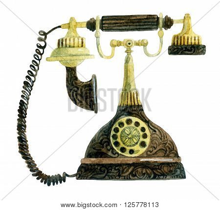 Telephone in retro style. Old fashioned phone. Hand painted illustration