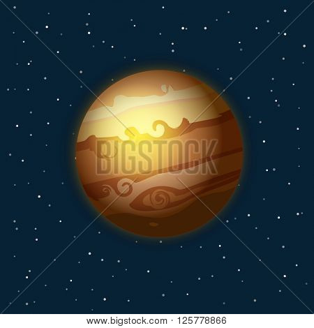 Jupiter in space vector illustration