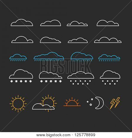 Different abstract forecast icons collection. Design elements