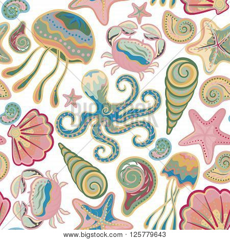 Colorful under water world wallpaper with crab octopus jellyfish star fish and others.