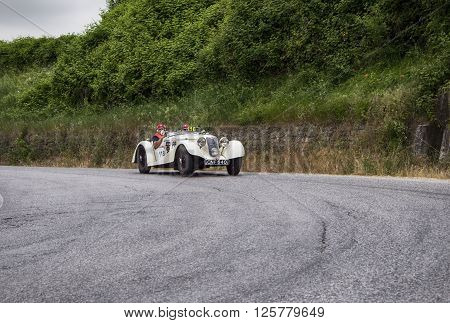 PESARO, ITALY - MAY 15:  RILEY Sprite TT 1936 on an old racing car in rally Mille Miglia 2015 the famous italian historical race (1927-1957) on May 2015